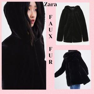 Zara faux fur black hooded jacket - NWT size xs